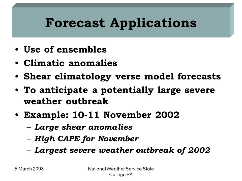 5 March 2003National Weather Service State College PA Forecast Applications Use of ensembles Climatic anomalies Shear climatology verse model forecast