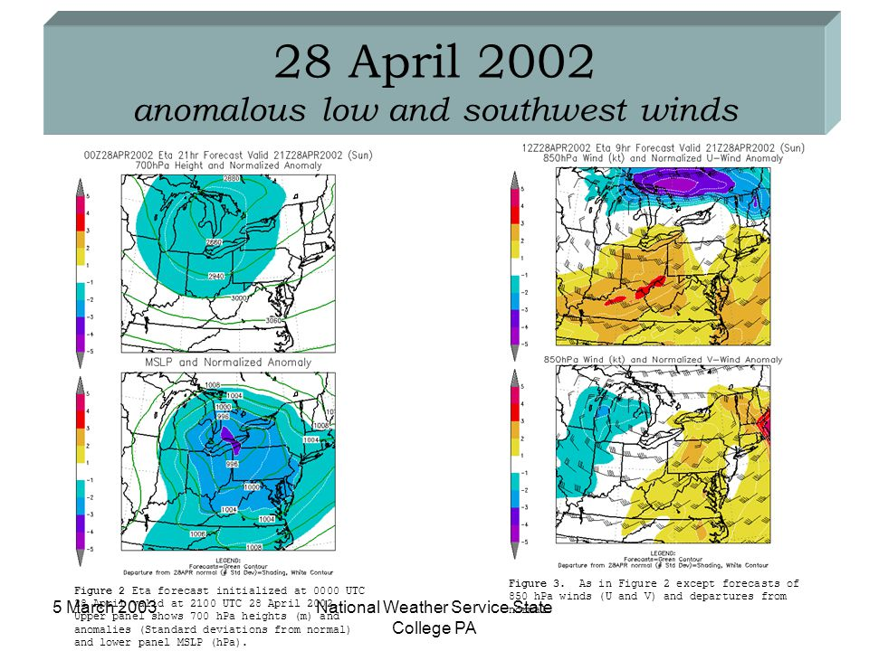 5 March 2003National Weather Service State College PA 28 April 2002 anomalous low and southwest winds Figure 2 Eta forecast initialized at 0000 UTC 28 April valid at 2100 UTC 28 April 2002.