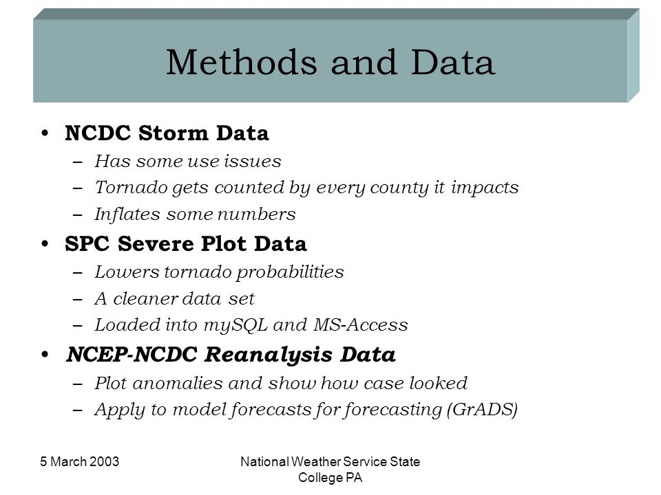 5 March 2003National Weather Service State College PA Methods and Data NCDC Storm Data – Has some use issues – Tornado gets counted by every county it