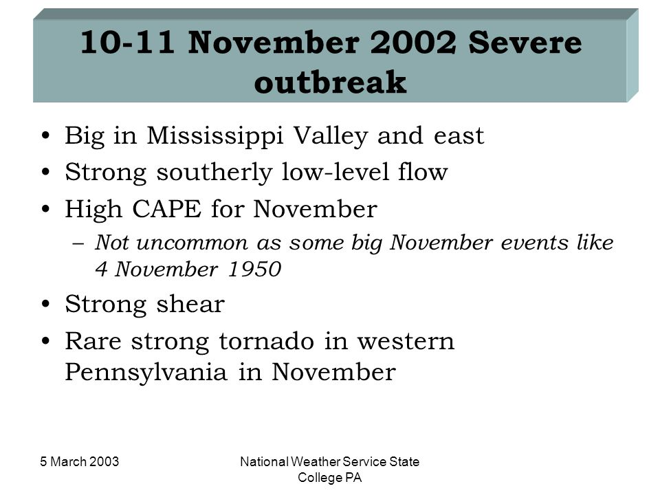 5 March 2003National Weather Service State College PA 10-11 November 2002 Severe outbreak Big in Mississippi Valley and east Strong southerly low-leve