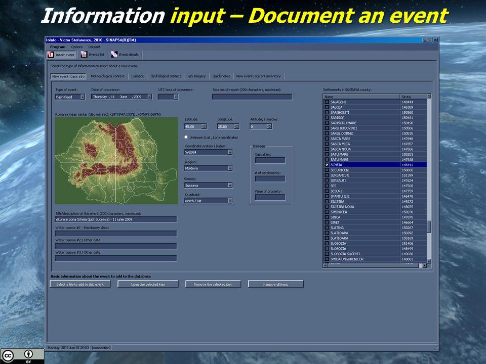 Information input – Document an event