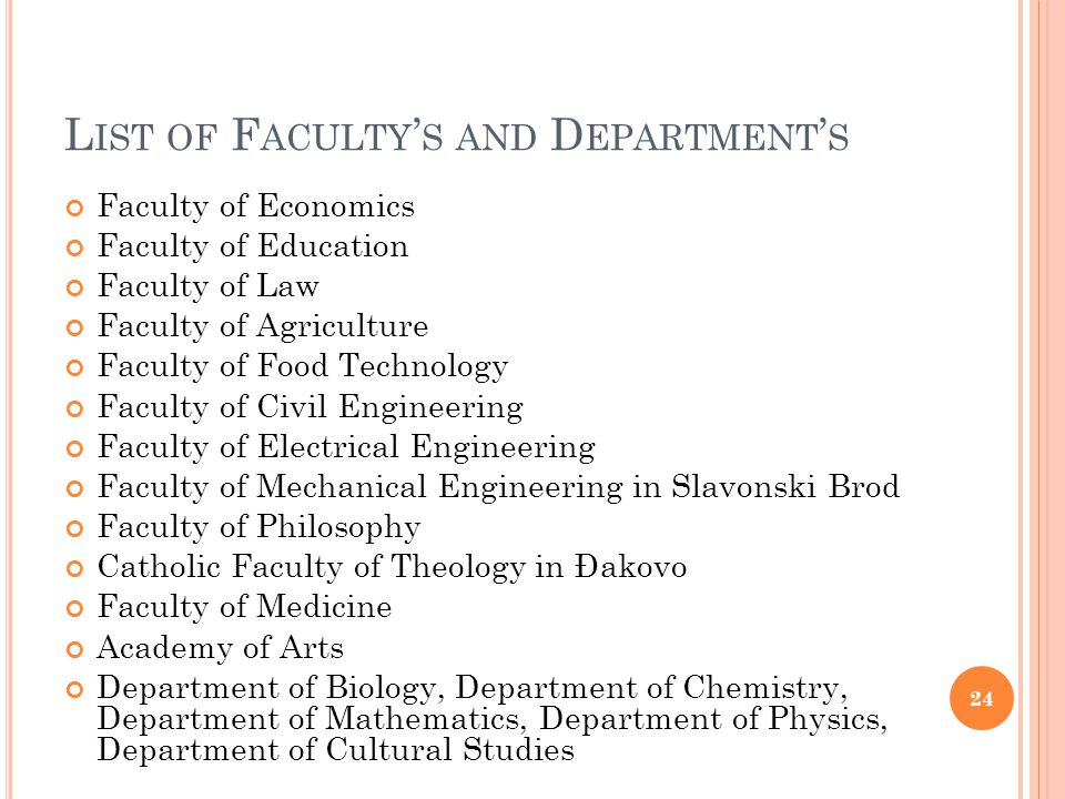 L IST OF F ACULTY S AND D EPARTMENT S Faculty of Economics Faculty of Education Faculty of Law Faculty of Agriculture Faculty of Food Technology Facul