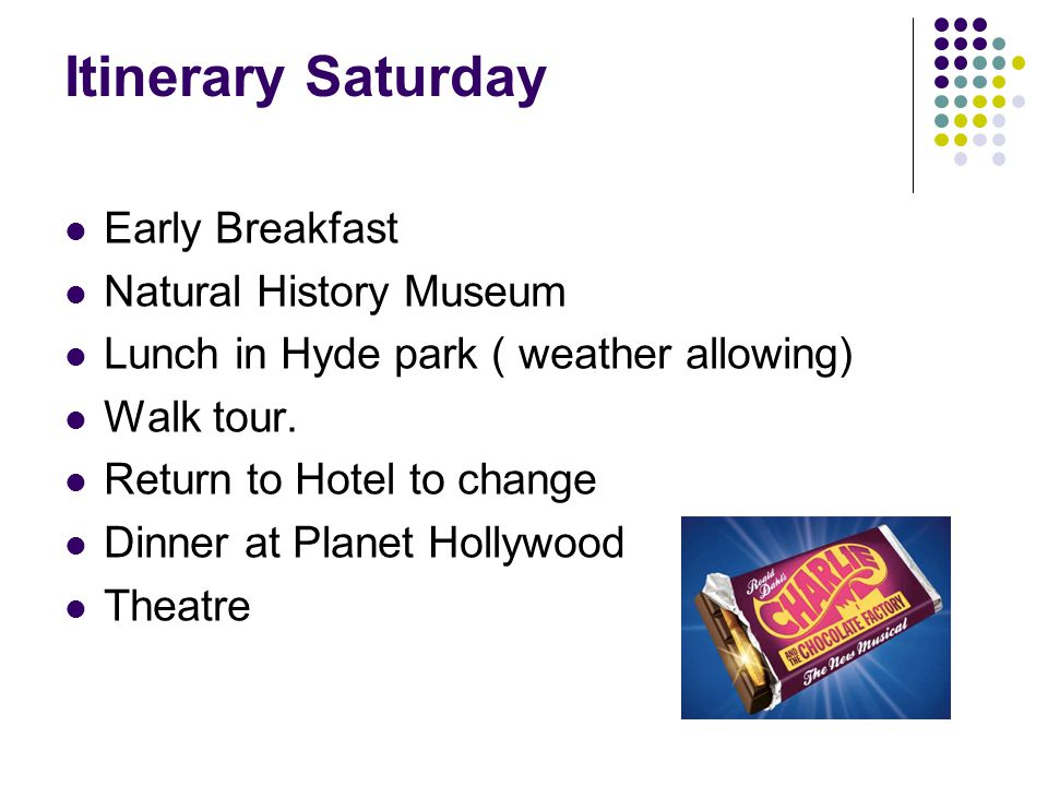 Itinerary Saturday Early Breakfast Natural History Museum Lunch in Hyde park ( weather allowing) Walk tour. Return to Hotel to change Dinner at Planet