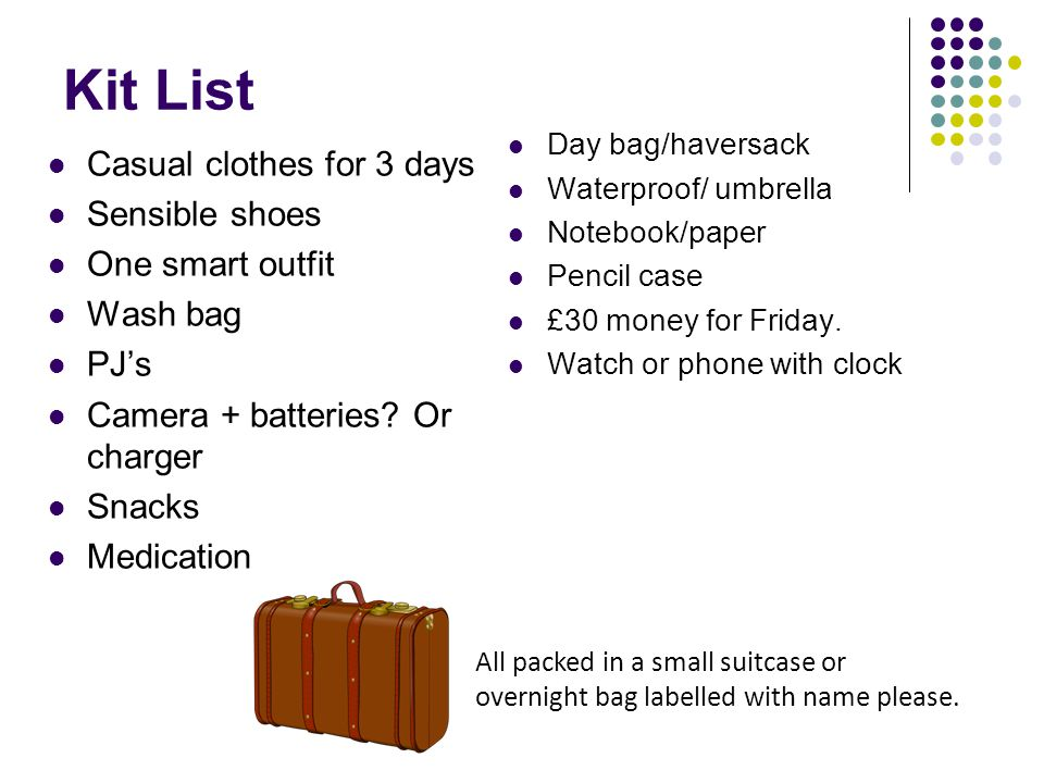 Kit List Casual clothes for 3 days Sensible shoes One smart outfit Wash bag PJs Camera + batteries.