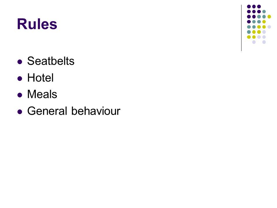 Rules Seatbelts Hotel Meals General behaviour
