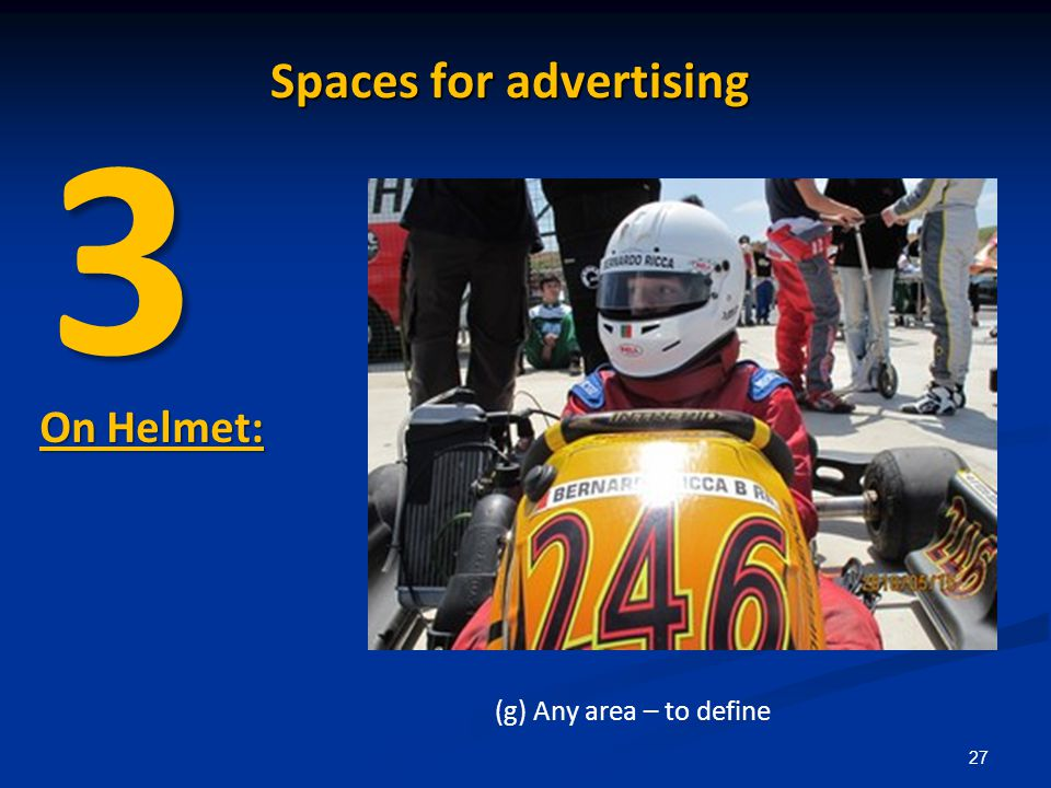 27 On Helmet: (g) Any area – to define 3 Spaces for advertising