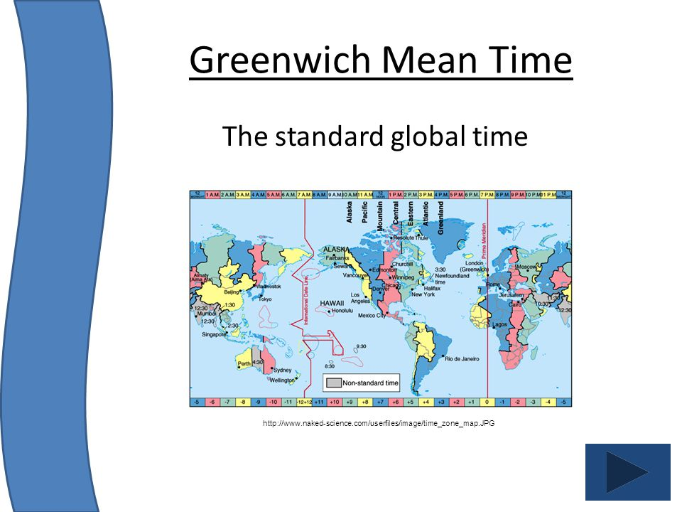 The standard global time Greenwich Mean Time http://www.naked-science.com/userfiles/image/time_zone_map.JPG