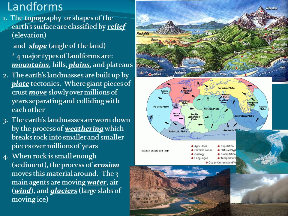 Landforms 1. The topography or shapes of the earths surface are classified by relief (elevation) and slope (angle of the land) * 4 major types of land