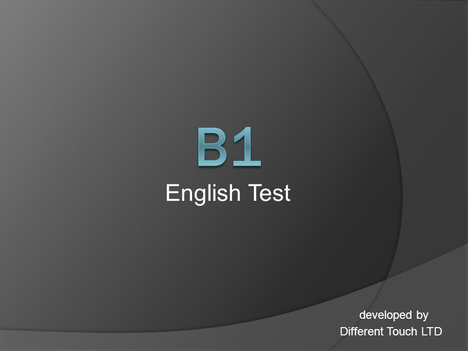 English Test developed by Different Touch LTD