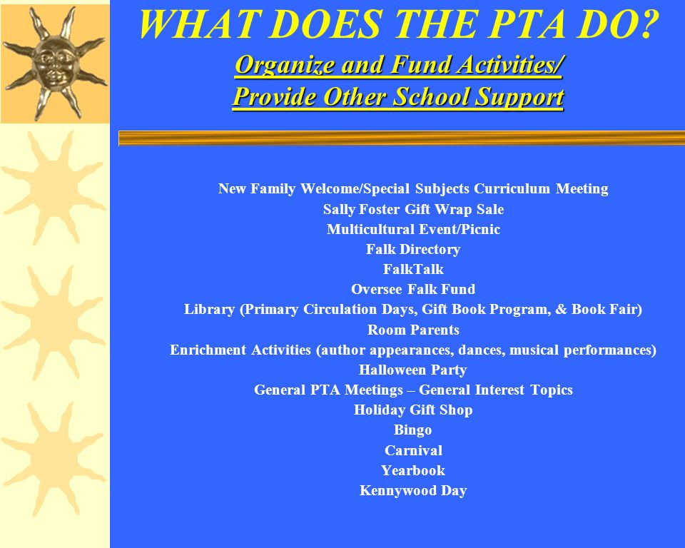 Organize and Fund Activities/ Provide Other School Support WHAT DOES THE PTA DO.