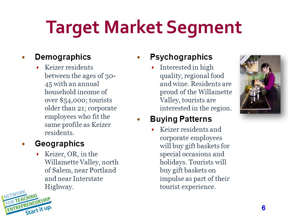 6 Demographics Keizer residents between the ages of 30- 45 with an annual household income of over $54,000; tourists older than 21; corporate employees who fit the same profile as Keizer residents.