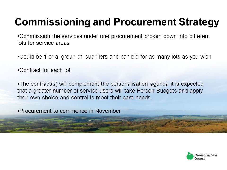 Commissioning and Procurement Strategy Commission the services under one procurement broken down into different lots for service areas Could be 1 or a