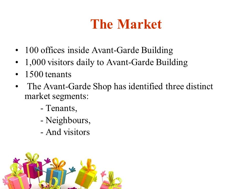 Market Timeline Trend of putting the Avant-Garde image in every tenant s logo or corporate name.