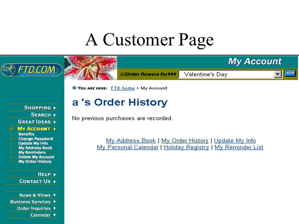 A Customer Page
