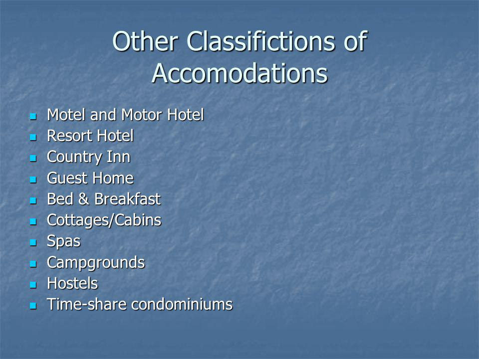 Other Classifictions of Accomodations Motel and Motor Hotel Motel and Motor Hotel Resort Hotel Resort Hotel Country Inn Country Inn Guest Home Guest H