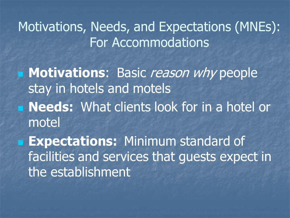 Motivations, Needs, and Expectations (MNEs): For Accommodations Motivations: Basic reason why people stay in hotels and motels Needs: What clients loo
