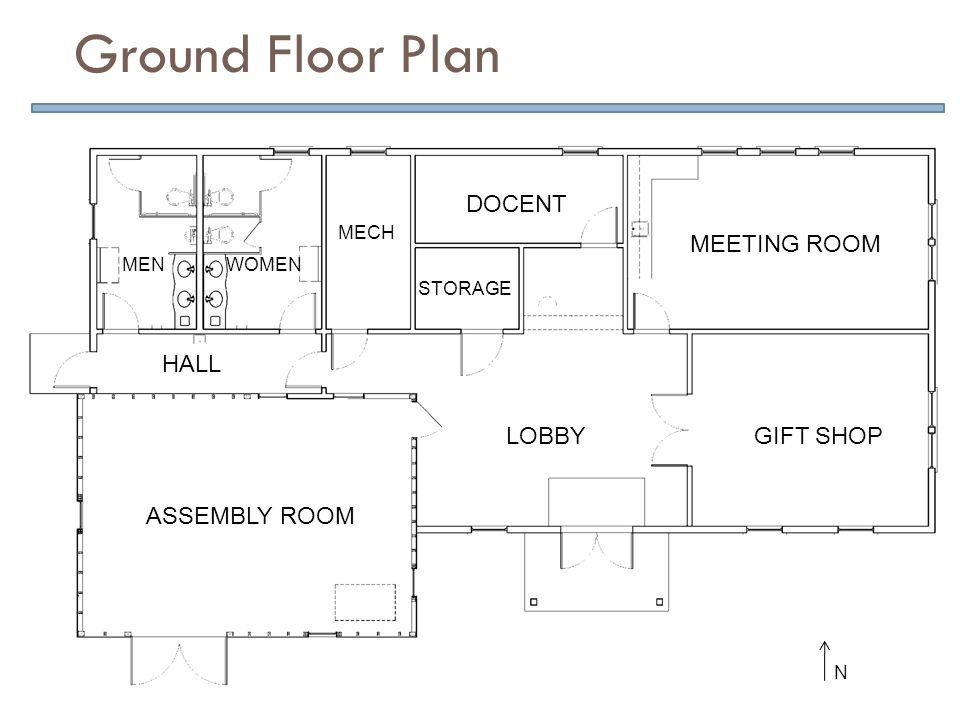 Ground Floor Plan ASSEMBLY ROOM LOBBYGIFT SHOP MEETING ROOM DOCENT STORAGE MECH WOMENMEN HALL N