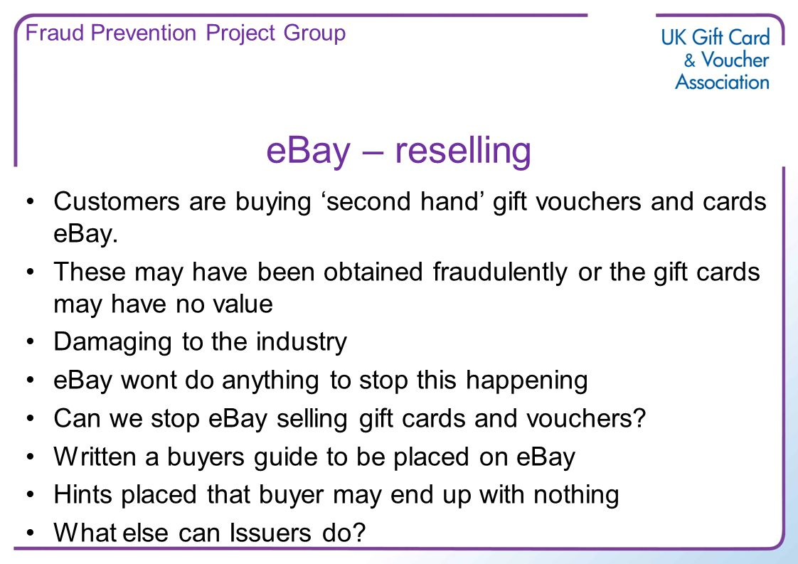 eBay – reselling Customers are buying second hand gift vouchers and cards eBay.