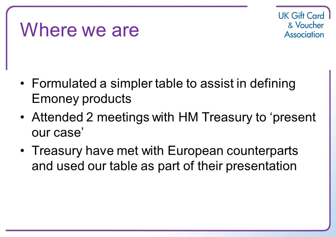 Where we are Formulated a simpler table to assist in defining Emoney products Attended 2 meetings with HM Treasury to present our case Treasury have met with European counterparts and used our table as part of their presentation