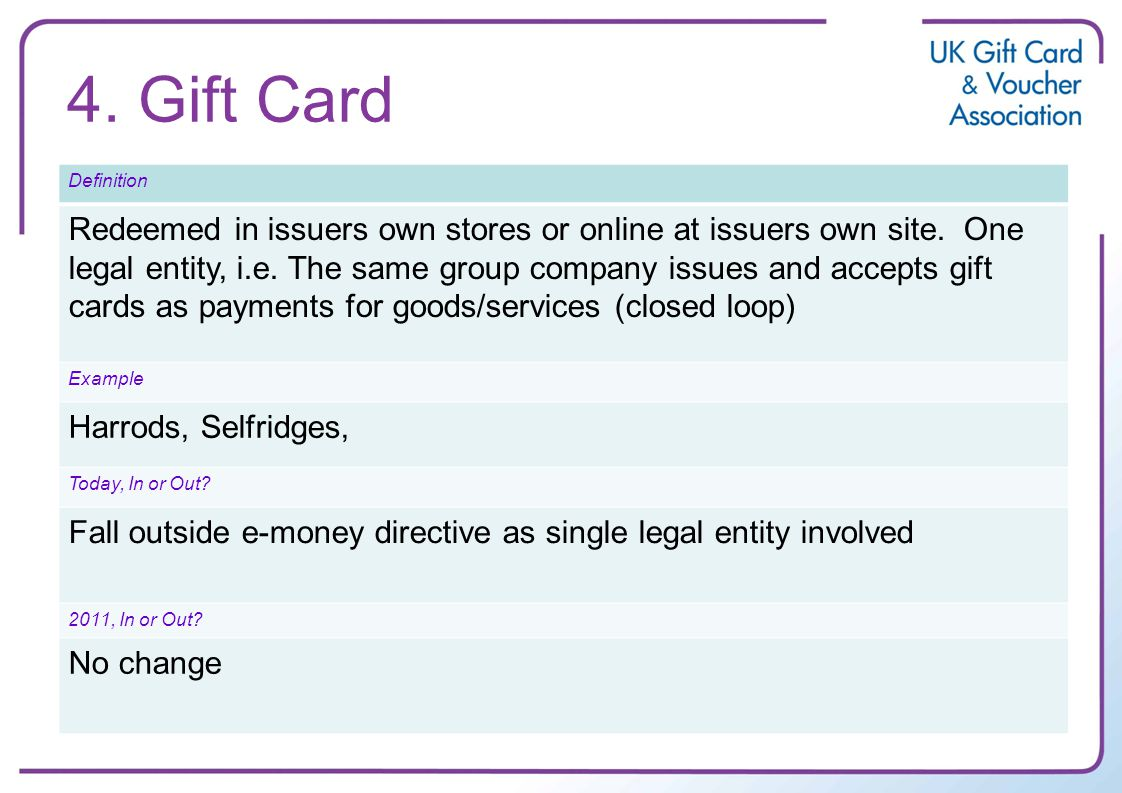 4. Gift Card Definition Redeemed in issuers own stores or online at issuers own site.
