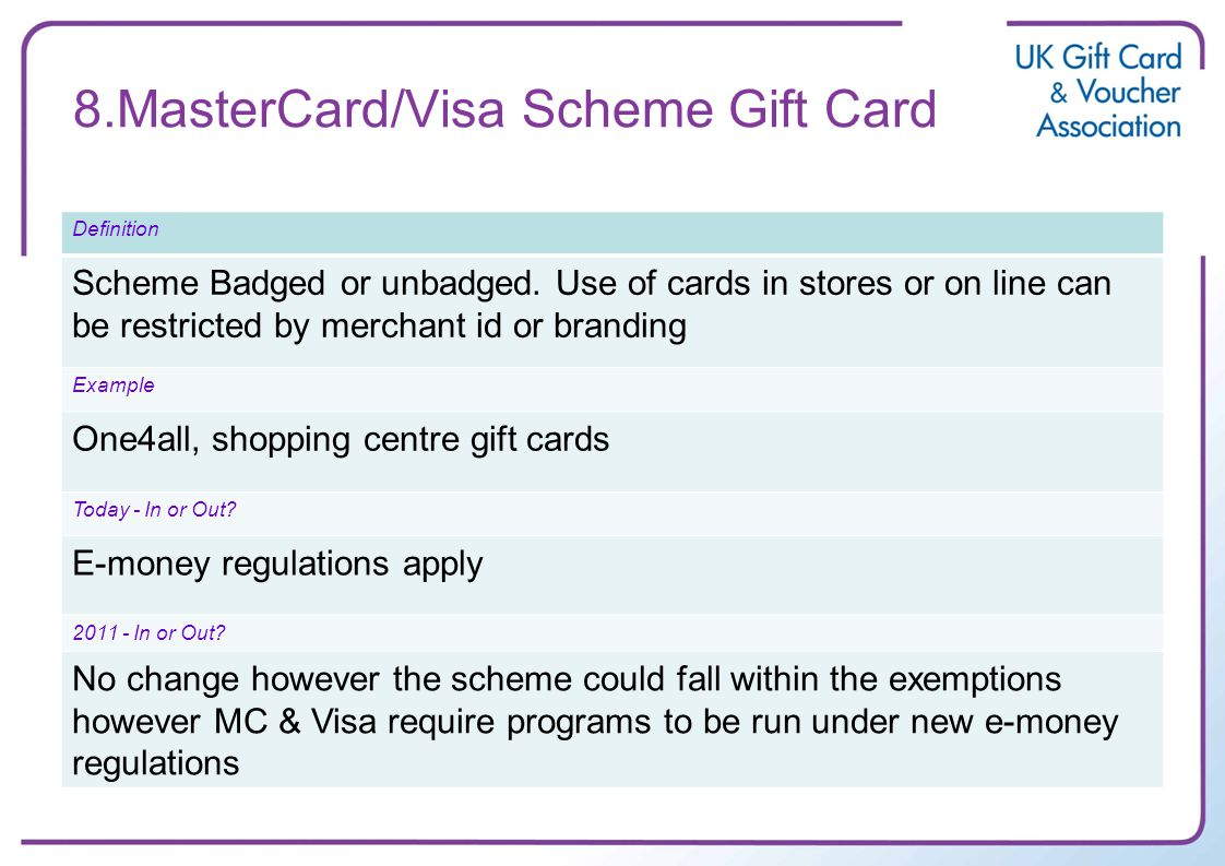 8.MasterCard/Visa Scheme Gift Card Definition Scheme Badged or unbadged. Use of cards in stores or on line can be restricted by merchant id or brandin