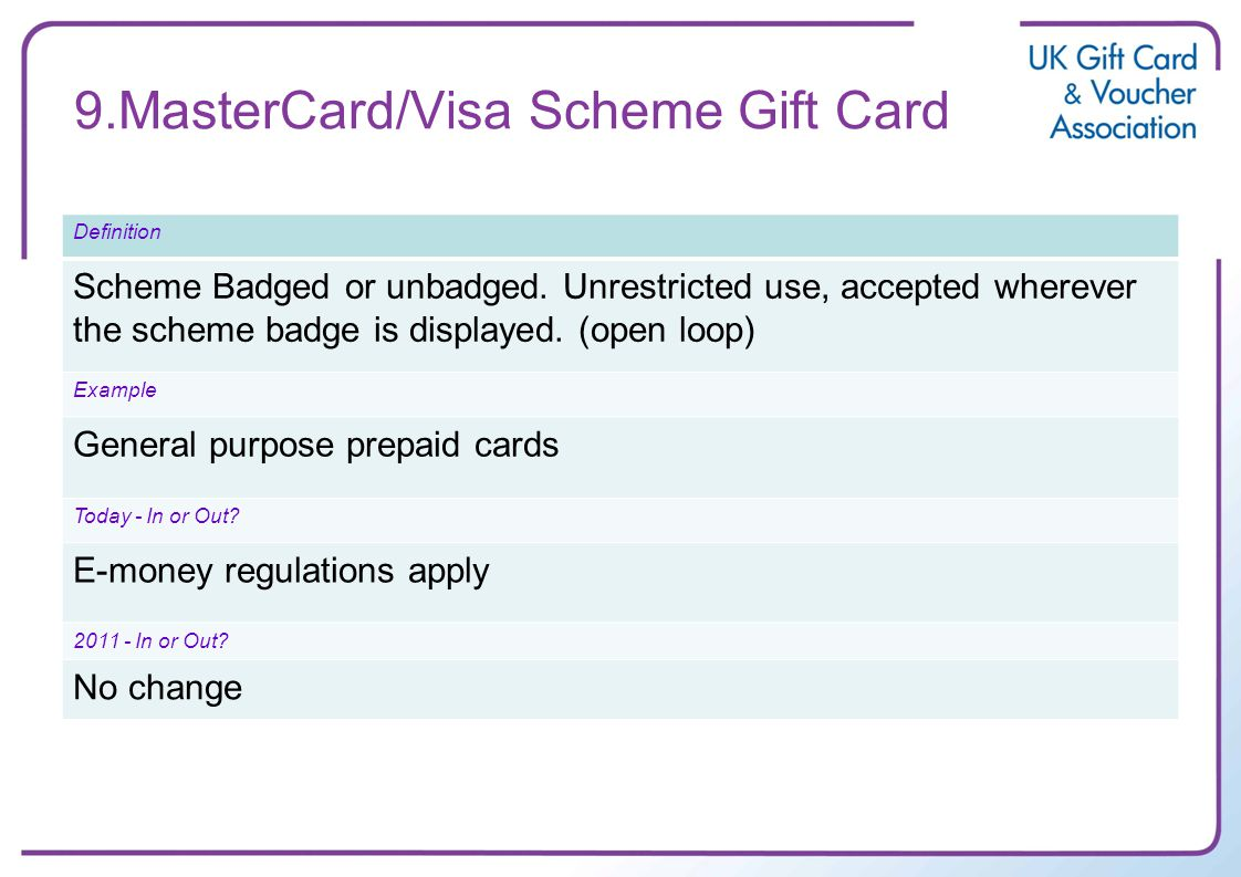 9.MasterCard/Visa Scheme Gift Card Definition Scheme Badged or unbadged. Unrestricted use, accepted wherever the scheme badge is displayed. (open loop