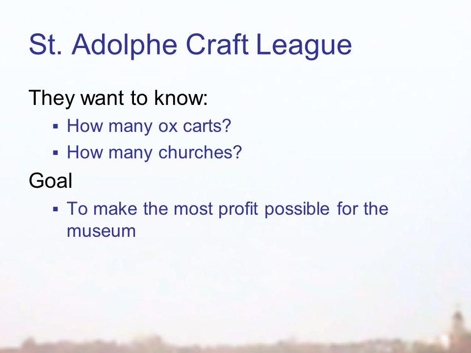 St. Adolphe Craft League They want to know: How many ox carts.