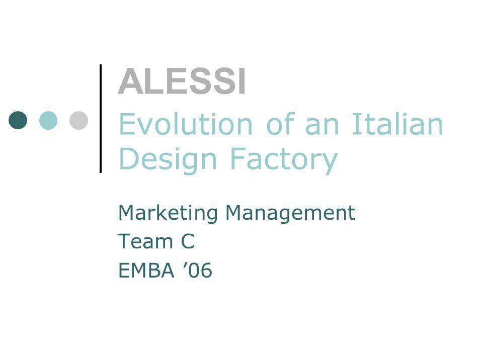 ALESSI Evolution of an Italian Design Factory Marketing Management Team C EMBA 06