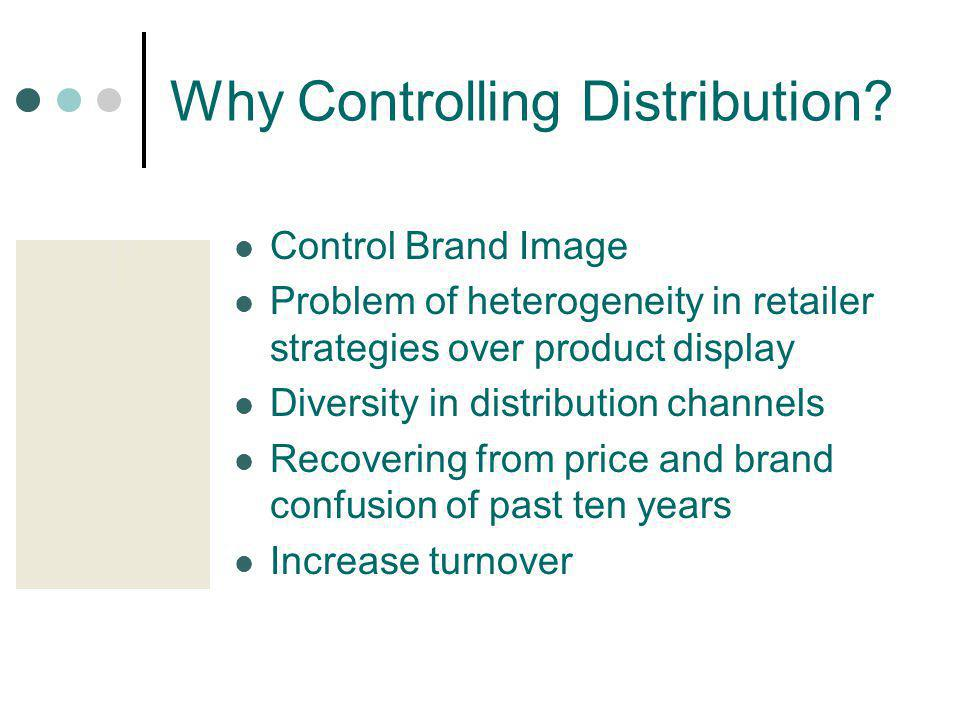 Why Controlling Distribution? Control Brand Image Problem of heterogeneity in retailer strategies over product display Diversity in distribution chann