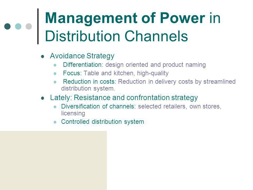 Management of Power in Distribution Channels Avoidance Strategy Differentiation: design oriented and product naming Focus: Table and kitchen, high-qua
