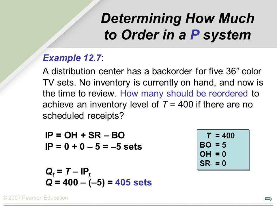 © 2007 Pearson Education Determining How Much to Order in a P system Example 12.7: A distribution center has a backorder for five 36 color TV sets.