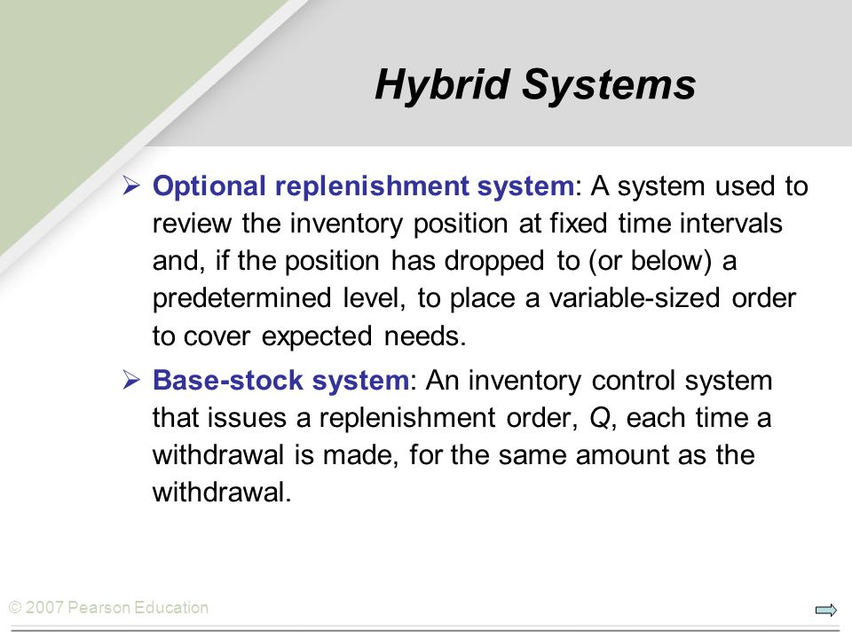 © 2007 Pearson Education Hybrid Systems Optional replenishment system: A system used to review the inventory position at fixed time intervals and, if the position has dropped to (or below) a predetermined level, to place a variable-sized order to cover expected needs.