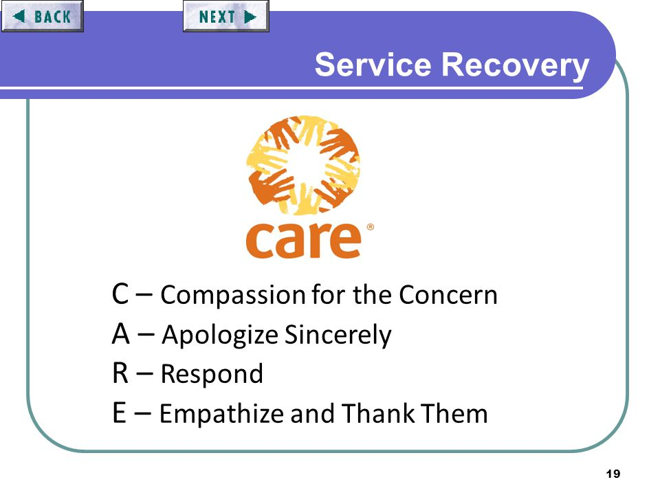 19 Service Recovery C – Compassion for the Concern A – Apologize Sincerely R – Respond E – Empathize and Thank Them