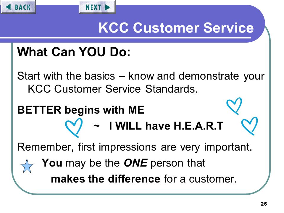 25 KCC Customer Service What Can YOU Do: Start with the basics – know and demonstrate your KCC Customer Service Standards. BETTER begins with ME ~ I W
