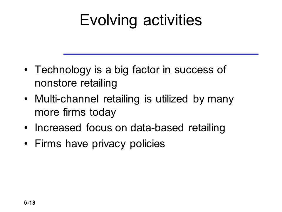 6-18 Evolving activities Technology is a big factor in success of nonstore retailing Multi-channel retailing is utilized by many more firms today Increased focus on data-based retailing Firms have privacy policies