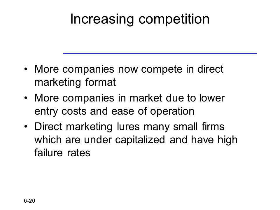 6-20 Increasing competition More companies now compete in direct marketing format More companies in market due to lower entry costs and ease of operat