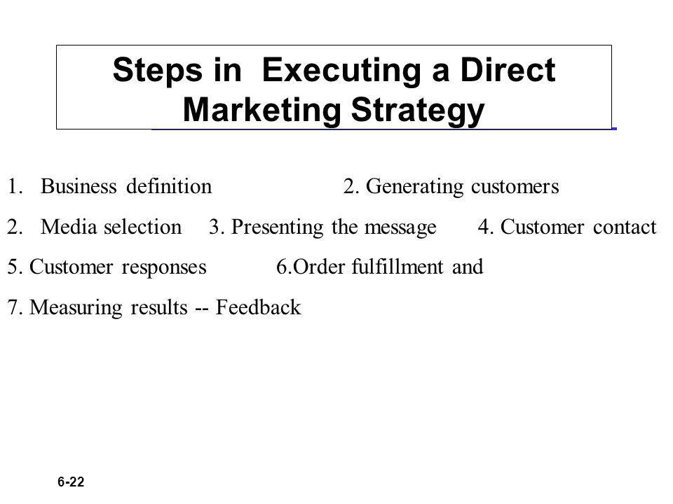 6-22 Steps in Executing a Direct Marketing Strategy 1.Business definition2. Generating customers 2.Media selection3. Presenting the message4. Customer