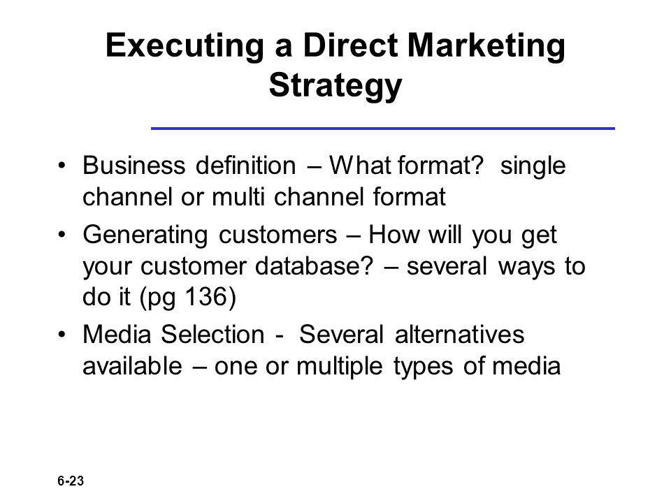 6-23 Executing a Direct Marketing Strategy Business definition – What format.