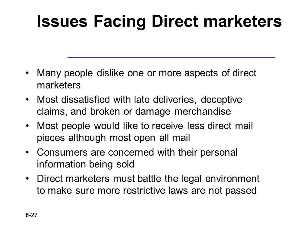 6-27 Issues Facing Direct marketers Many people dislike one or more aspects of direct marketers Most dissatisfied with late deliveries, deceptive clai