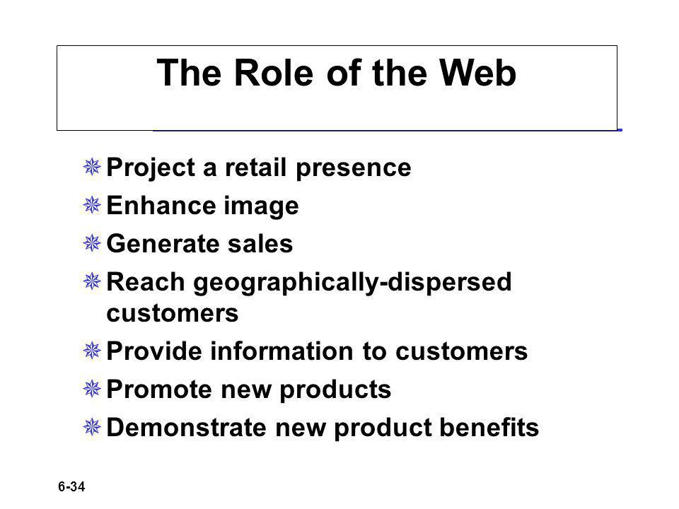 6-34 The Role of the Web Project a retail presence Enhance image Generate sales Reach geographically-dispersed customers Provide information to customers Promote new products Demonstrate new product benefits