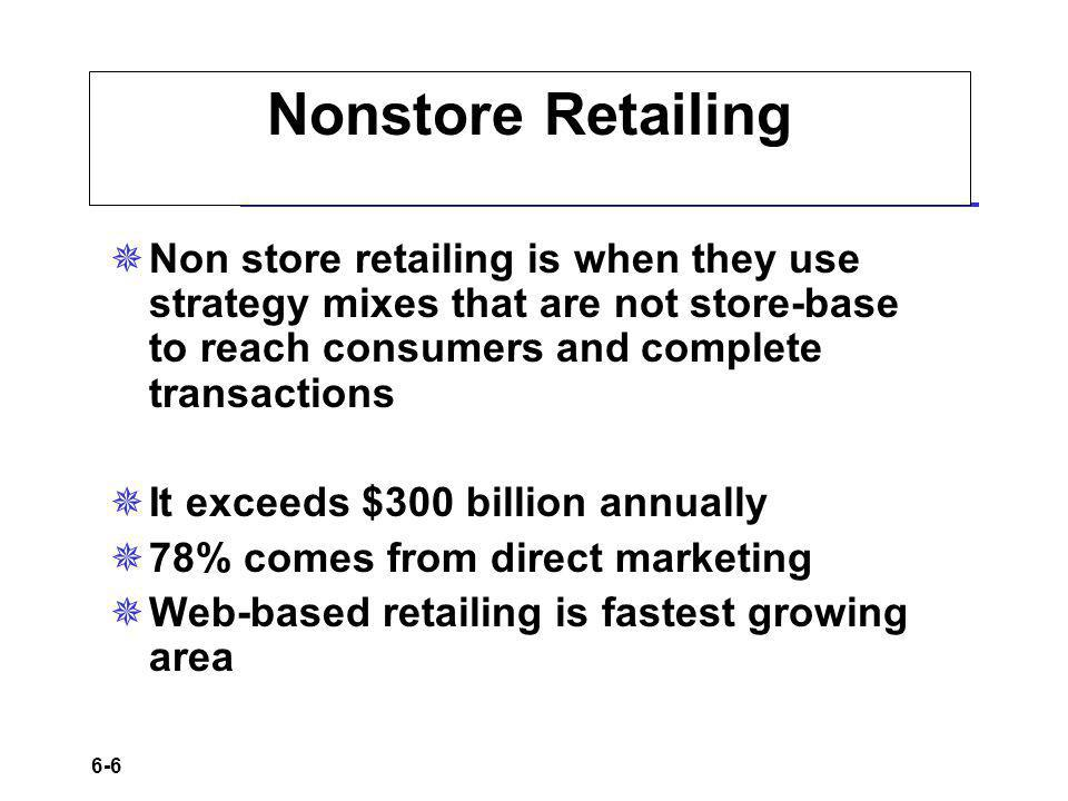 6-6 Nonstore Retailing Non store retailing is when they use strategy mixes that are not store-base to reach consumers and complete transactions It exceeds $300 billion annually 78% comes from direct marketing Web-based retailing is fastest growing area
