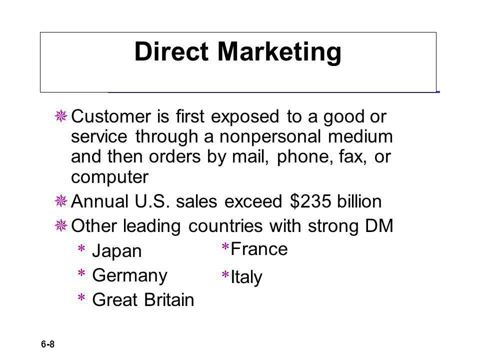 6-8 Direct Marketing Customer is first exposed to a good or service through a nonpersonal medium and then orders by mail, phone, fax, or computer Annual U.S.