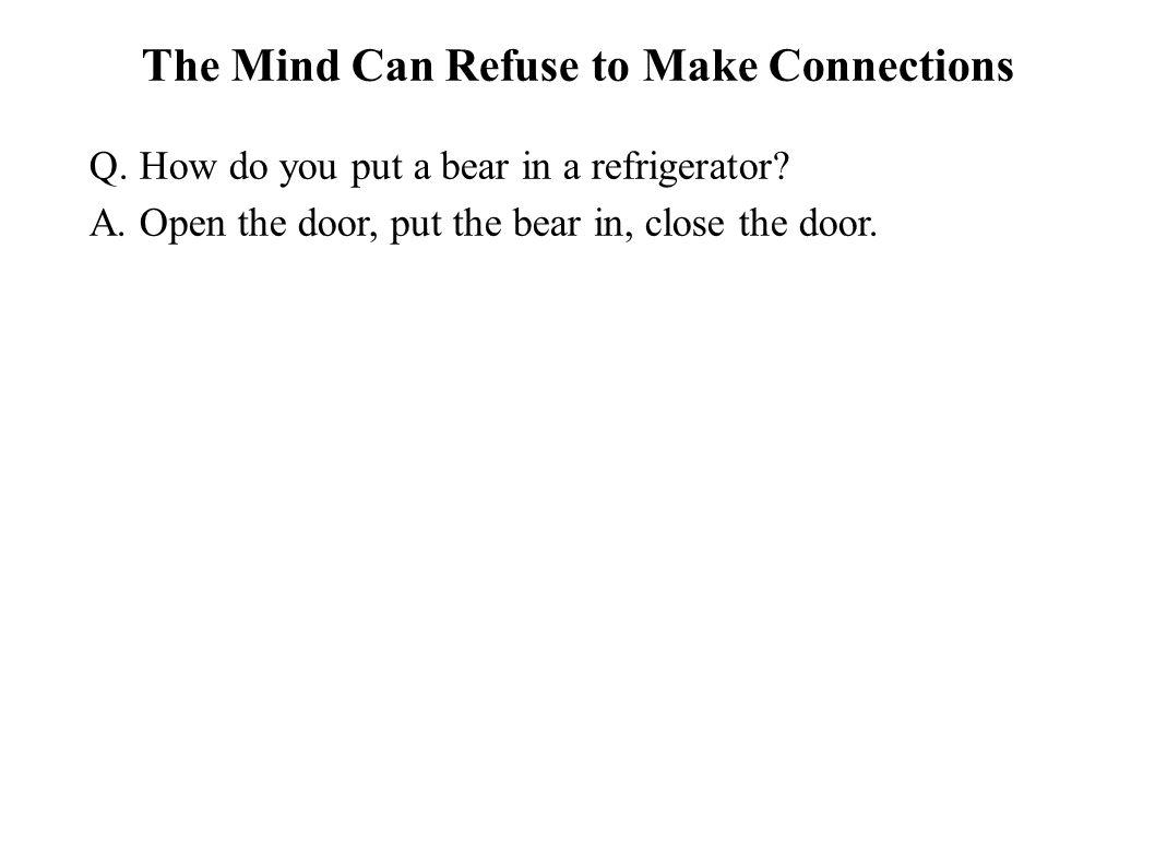 The Mind Can Refuse to Make Connections Q. How do you put a bear in a refrigerator? A. Open the door, put the bear in, close the door.