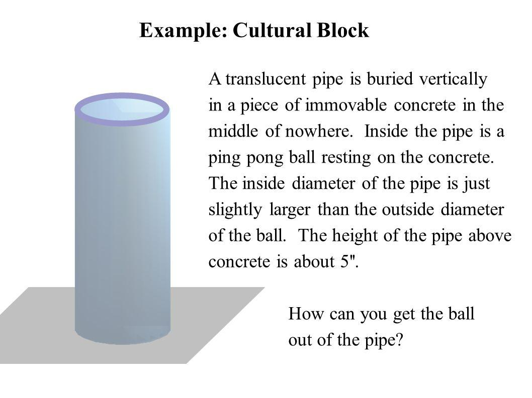 Example: Cultural Block A translucent pipe is buried vertically in a piece of immovable concrete in the middle of nowhere. Inside the pipe is a ping p