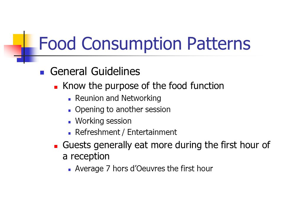 Food Consumption Patterns General Guidelines Know the purpose of the food function Reunion and Networking Opening to another session Working session R