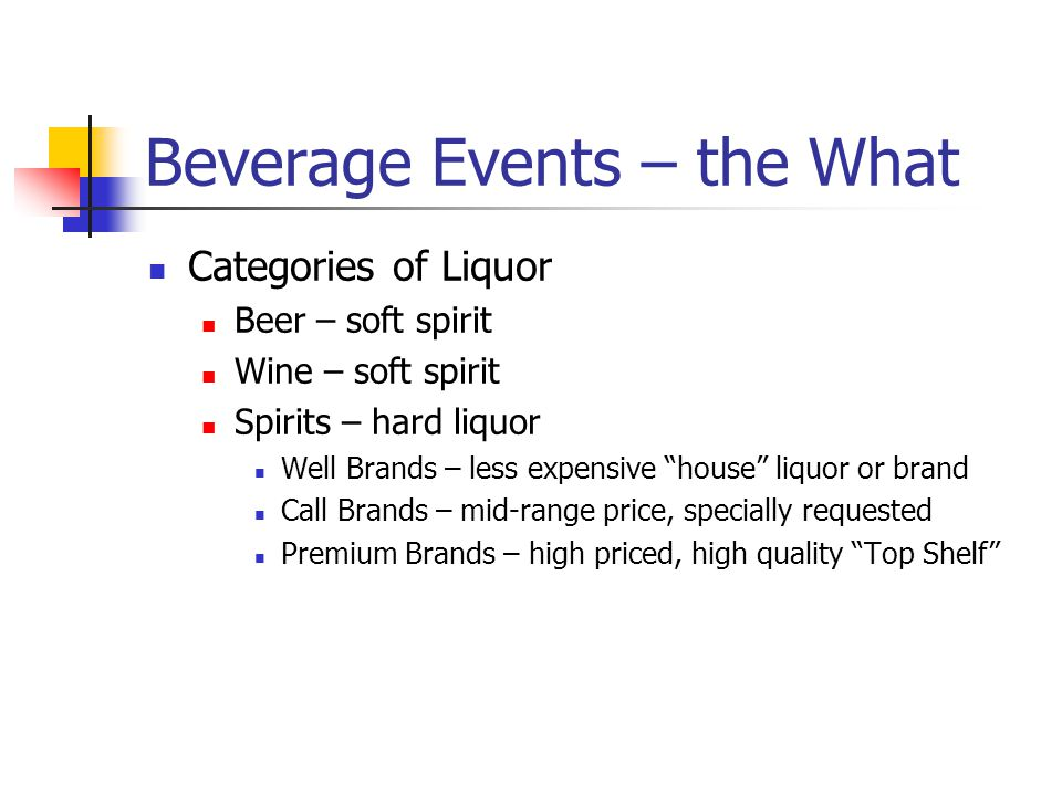 Beverage Events – the What Categories of Liquor Beer – soft spirit Wine – soft spirit Spirits – hard liquor Well Brands – less expensive house liquor or brand Call Brands – mid-range price, specially requested Premium Brands – high priced, high quality Top Shelf