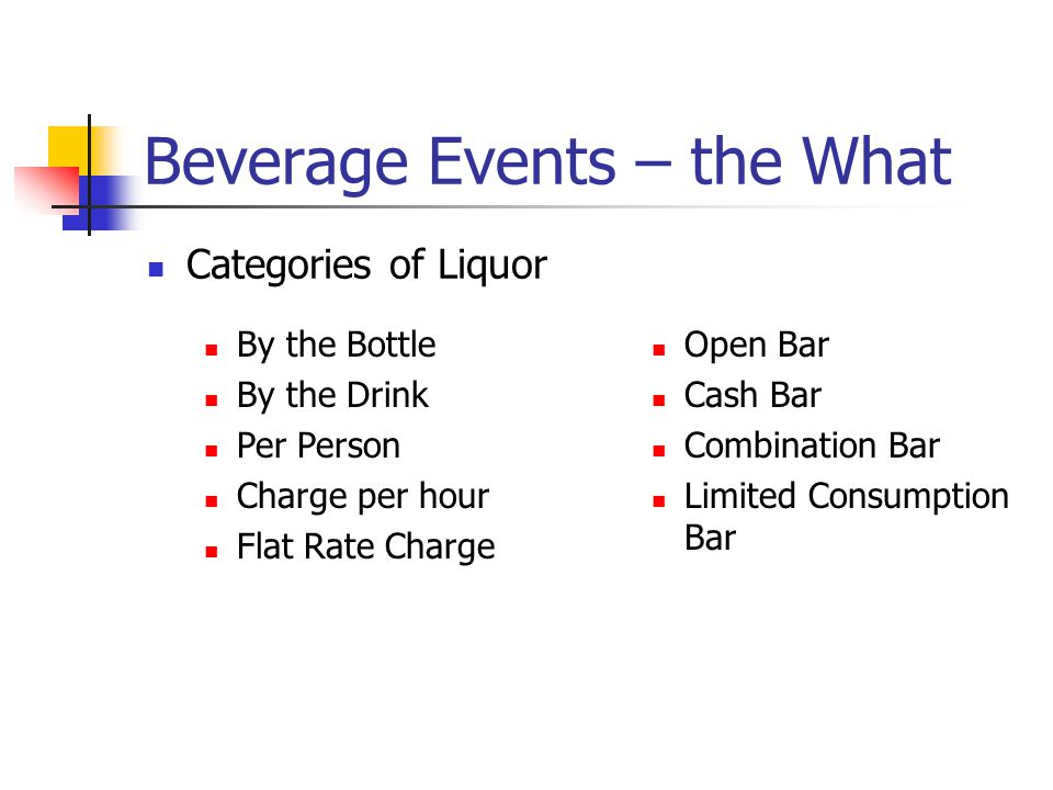 Beverage Events – the What Categories of Liquor By the Bottle By the Drink Per Person Charge per hour Flat Rate Charge Open Bar Cash Bar Combination B