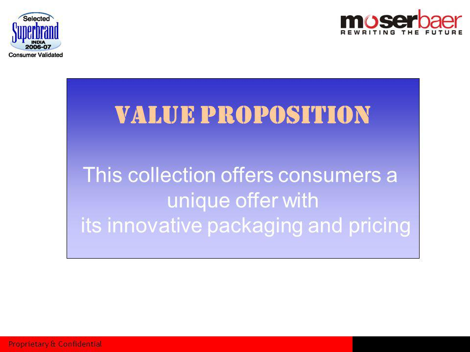 Proprietary & Confidential VALUE PROPOSITION This collection offers consumers a unique offer with its innovative packaging and pricing