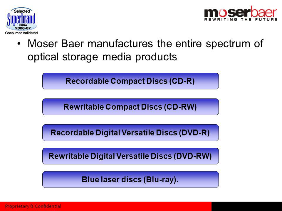 Proprietary & Confidential Moser Baer manufactures the entire spectrum of optical storage media products Recordable Compact Discs (CD-R) Rewritable Compact Discs (CD-RW) Recordable Digital Versatile Discs (DVD-R) Rewritable Digital Versatile Discs (DVD-RW) Blue laser discs (Blu-ray).