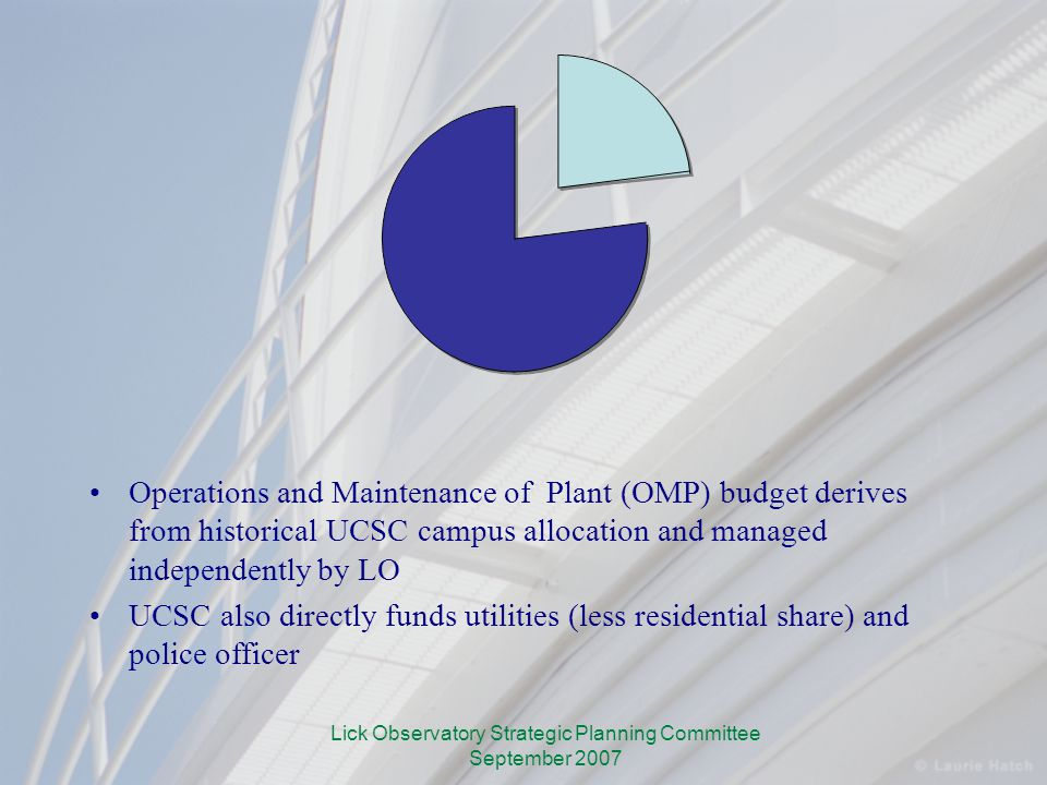 Lick Observatory Strategic Planning Committee September 2007 Operations and Maintenance of Plant (OMP) budget derives from historical UCSC campus allocation and managed independently by LO UCSC also directly funds utilities (less residential share) and police officer